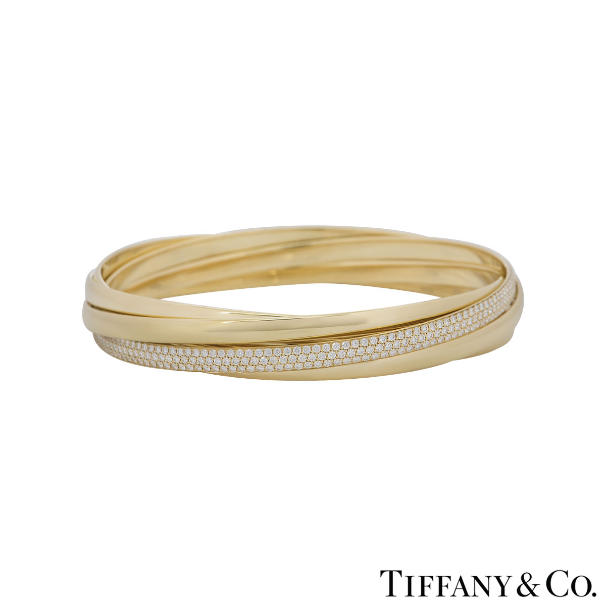Tiffany & Co. Yellow Gold 5 Band Diamond Paloma's Melody Bangle